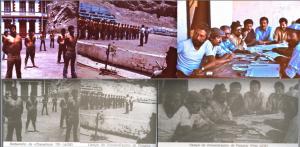 """Une preuve irréfutable de l'imposture : en bas, en noir et blanc, les photos attribuées par l'agence de presse officielle de la RDA (Allgemeiner Deutscher Nachrichtendienst – ADN) à Walter Heynowski et Gerhard Scheumann. En haut, les diapositives originales couleur, photos prises par le seul Miguel Herberg les 28 et 30 janvier 1974. Contrairement à ce précise la légende """"RDA"""", les deux photos de gauche ont été prises à Pisagua, et celle de droite à Chacabuco."""