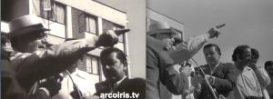 Avant les élections du 4 mars 1973 : inauguration de logements par Salvador Allende. À gauche, capture d'image du film El golpe blanco (1975) réalisé par W. Heynowski et G. Scheumann (à 10 mn. 30 sec.). À droite, photo de Miguel Herberg (son négatif figure dans les archives Herberg). Les angles des prises de vue pour le film et la photo sont très semblables. En effet, Herberg qui contrôle l'enregistreur Nagra reste proche de son caméraman Peter Hellmich.