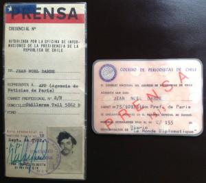 Cartes de presse : OIR (1972) et Colegio de periodistas de Chile (1973).