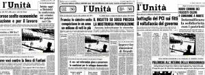 Les unes de l'Unità, organe du PCI, du 21 mars 1974, 7 mai 1974 et 1er août 1974. Chaque fois, la légende précise que la photo a été prise au camp de prisonniers de Pisagua.