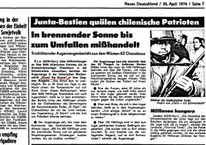 Le Neues Deutschland du 30 avril 1974 fait un compte-rendu et cite l'article publié sur les camps au Chili dans le Giorni Vie Nuove daté du 1er mai.