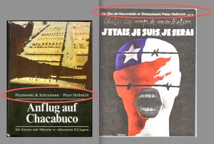 """Peter Hellmich : co-auteur. À gauche, la couverture du livre édité l'été 1974 par les éditions d'état de la RDA pour préparer la sortie du film Ich war, ich bin, ich werde sein. À droite, l'affiche d'UNI/CI/TÉ pour la sortie du film en septembre 1975 à Paris. On verra que les variantes """"Heynowski & Scheumann . Peter Hellmich"""", """"Heynowski et Schemann / Peter Hellmich"""" – on trouve aussi """"un film de Heynowski et Scheumann, Peter Hellmich"""" – ne sont pas sans signification."""