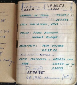 """La page 1 du premier agenda de Miguel Herberg, une page """"Partido nacional'."""