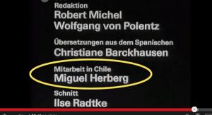 Le nom de Miguel Herberg apparaît en queue du générique du film Der krieg der mumien (1974). La présence de Miguel Herberg au Chili en 1973 est là encore confirmée...
