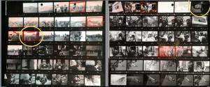Deux planches contacts de photos prises par Miguel Herberg en juillet 1973. Les photos de la grève des camionneurs précèdent celles des funérailles du commandant Araya (première planche). Suite des funérailles et photo d'Hanns Stein (deuxième planche). Les deux photos entourées en jaune sont ci-dessous.