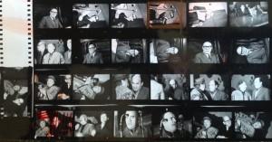 Planche contact de photos prises par Miguel Herberg. De bas en haut, une parfaite correspondance avec son agenda : L. Corvalan assis à côté de MG Incháustegui, de même L. Figueroa et J. Gazmuri, puis A. Sepulveda au micro. Plus haut, O. Jarpa et P. Aylwin.