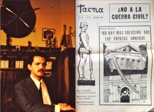 Erwin Robertson, directeur de Tacna, feuille d'ultra-droite proche du général Roberto Viaux. À la une du n° de juin, quelques semaines avant le Tanquetazo, un appel de Sergio Miranda Carrington au coup d'État (Miranda est aussi un des invités des agendas d'Herberg). Photo (mars 73) : Miguel Herberg.