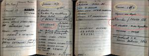 L'agenda de Miguel Herberg ouvert aux dates du 26 et 27 juillet 1973. Le 26 à 15h, interview d'Onofre Jarpa. Le 27, entretiens avec le   Général Alfredo Canales à 9h30 et León Vilarín à 11h. À la date du 27, sur la page de gauche, mention de l'assassinat du commandant Arturo Araya, aide de camp (Marine) de Salvador Allende).