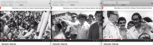 """Trois séquences d'un reportage sur Salvador Allende tourné sous la direction de Miguel Herberg en février 1973 (Peter Hellmich à la caméra) sont utilisées par Patricio Guzman dans son film """"Salvador Allende"""" (2004). Ces séquences qui étaient dans les mains du Studio Heynowski & Scheumann ont été fournies à Patricio Guzman par Progress Film. Walter Heynowski et Gerhard Scheumann ont eux-mêmes longuement utilisé ce matériel dans """"Der krieg der mumien"""" (1974, La Guerra de los momios)."""