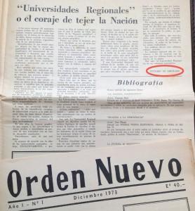 Décembre 1973, contribution de Vittorio Di Girolamo au premier numéro d'Orden nuevo. (Archives Miguel Herberg).