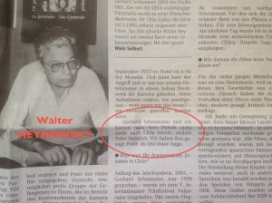 Neues Deutschland du 11 septembre 2013 : interview de Walter Heynowski.