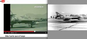 """Au nez et à la barbe du général Leigh : base aérienne """"Los Cerillos"""", 18 février 1974. Reportage et entrevues sous la direction de Miguel Herberg. À gauche le chasseur Hawker immatriculé """"J -70 3"""" à l'atterrissage dans l'œil de la caméra de Peter Hellmich. À droite, quasiment au même moment, le même appareil """"J -70 3"""" pris en photo par Miguel Herberg (dernière photo de la planche contact plus haut)."""